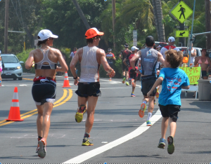 Connor running alongside me mile 3